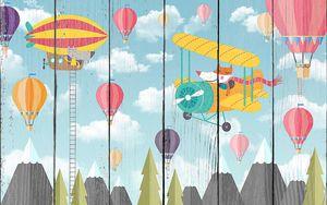 Самолетики и воздушные шары над лесом