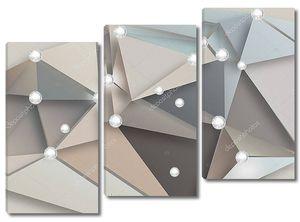 Треугольники разных цветов, яркие белые шары