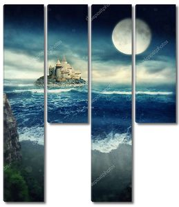 Остров с замком ночью в шторм