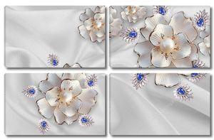 Абстрактные цветы с жемчугом и кристаллами