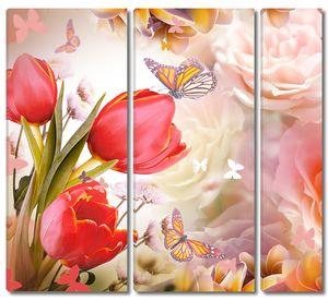 Розовые розы с тюльпанами