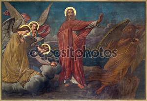 Антверпен, Бельгия - 5 сентября: фреска искушение Иисуса в joriskerk или Святого Георгия церкви от 19. процентов. 5 сентября 2013 года в Антверпене, Бельгия