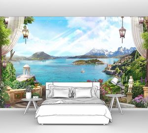 Вид с балкона с белыми шторами и фонарями и и красивым садом. Цифровая фреска. Обои.