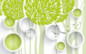 Белые кольца, зеленые круги, зеленые деревья
