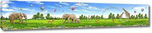 Слоны и жирафы на поляне
