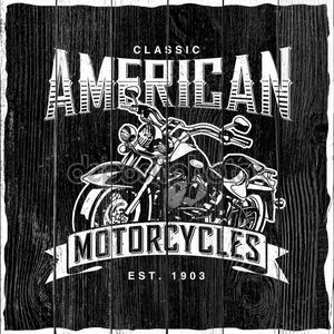 Classic American Motorcycles label design with hand drawn motorcycle for posters, t-shirts, greeting cards etc.