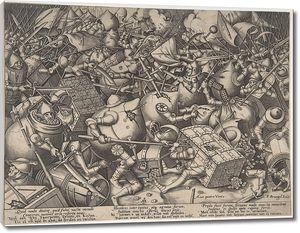 Брейгель Гравюра. Битва сундуков и копилок