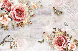 Цветы на вырезках из газет