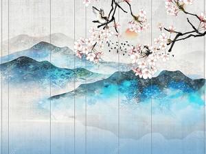Ветка, холмы на фоне вертикальных панелей