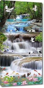 Бурная река с журавлями