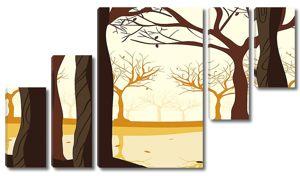 Силуэты кряжистых деревьев