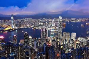 Гонконгский город ночью