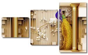 Павлин с золотыми колоннами