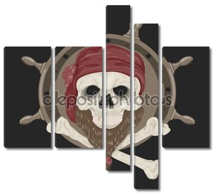 Пиратский череп изображение с бородой .