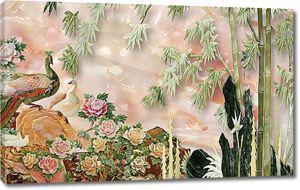 Павлины и бамбук на нефритовом фоне