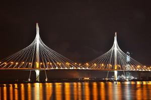 Вантовый мост ЗСД ночью