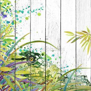 Тропический экзотический лес, зеленые листья, дикая природа, crocodilepredator, акварель иллюстрации. акварель фон необычная экзотическая природа