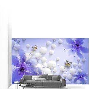 Шарики с фиолетовыми цветами