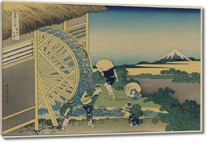 Кацусика Хокусай. Водяная мельница в Ондене