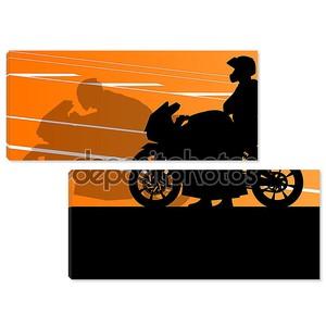 Спортивный мотоцикл всадников и мотоциклов силуэты Иллюстрация