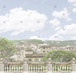 Пастельный вид на город