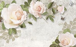 Кремовые розы на стене