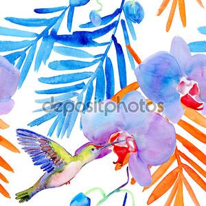 тропические цветы, птиц и листьев.