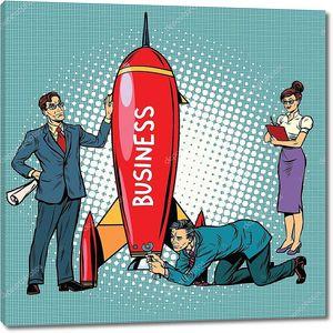 Бизнесмены запускают ракету бизнеса