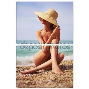Чувственная леди на пляже