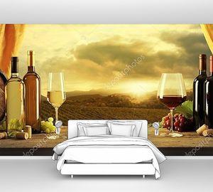 Бочки и виноградник в закат