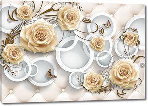 Розы с кругами на ромбовидном фоне