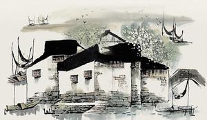 Старые домики у реки