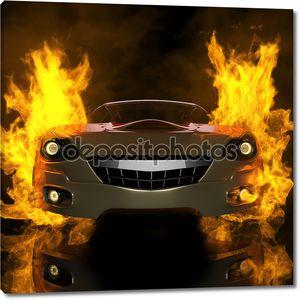 Горящий фон спортивного автомобиля