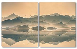 Горное озеро. Сепия