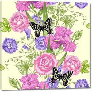 Seamless vector pattern with flowers and butterflies.