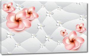 Розовые и бумажные цветы на коже