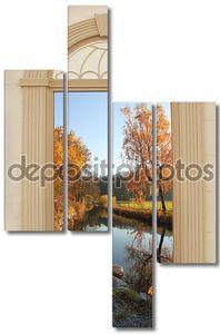 вид через арочные двери, Осенние озера