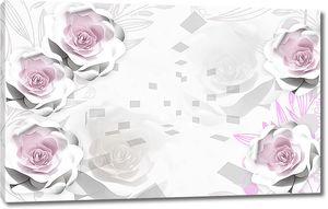 Несколько роз на абстрактном фоне