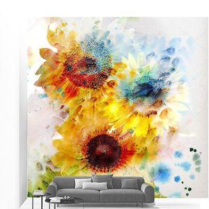 Акварельная живопись с подсолнухами