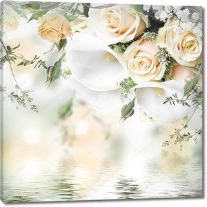 Белые каллы, нежные розы