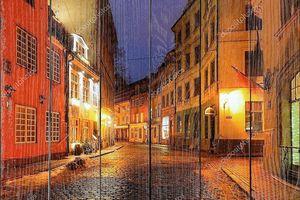Старый город Рига, Латвия, ночью