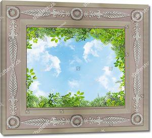 Небо в рамке с зеленью по краям