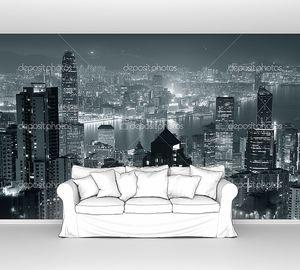 Гонконг ночью в чёрном и белом