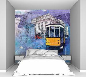 Ручной рисунок акварели фон с иллюстрацией старого трамвая в стиле эскиза