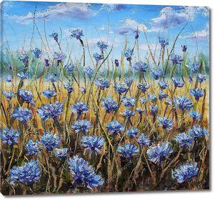 Цветочное поле. Голубые цветы на лугу. Голубое небо. Картина маслом.