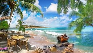 Кафе на пляже в пальмах