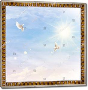 Два голубя в небе с солнцем