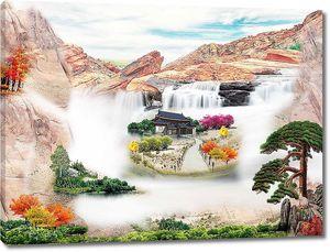 Домик посреди водопада