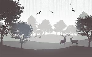 Птицы кружат над оленями