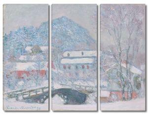 Моне Клод. Норвегия, деревня Сандвикен в снегу, 1895